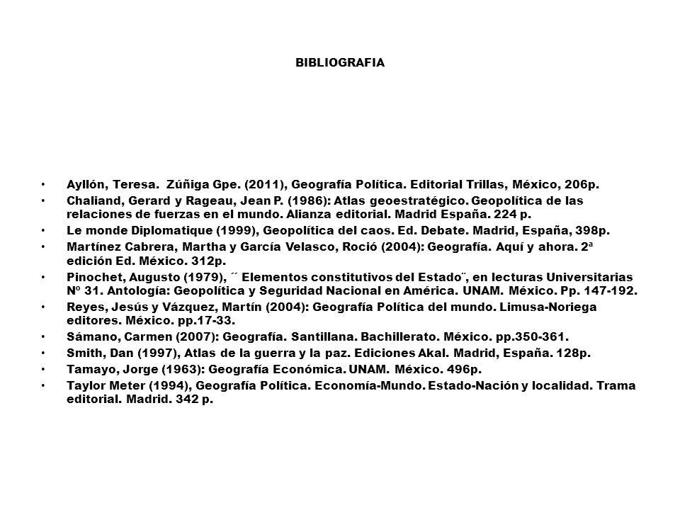 BIBLIOGRAFIA Ayllón, Teresa. Zúñiga Gpe. (2011), Geografía Política. Editorial Trillas, México, 206p.