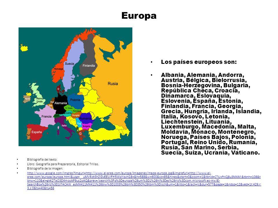 Europa Los países europeos son: