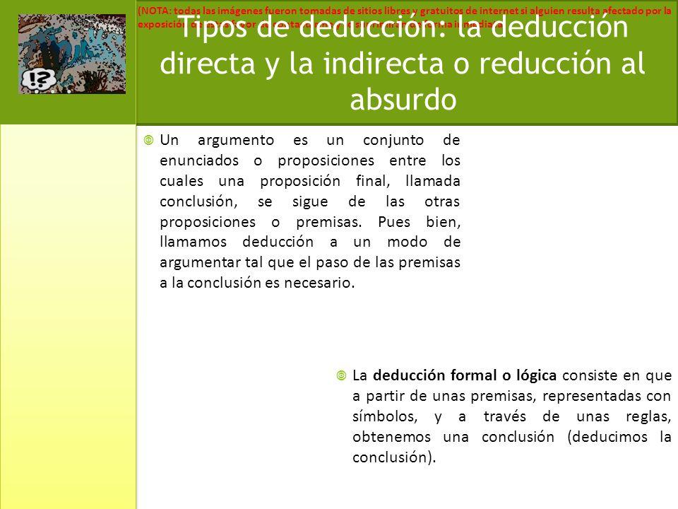 Tipos de deducción: la deducción directa y la indirecta o reducción al absurdo