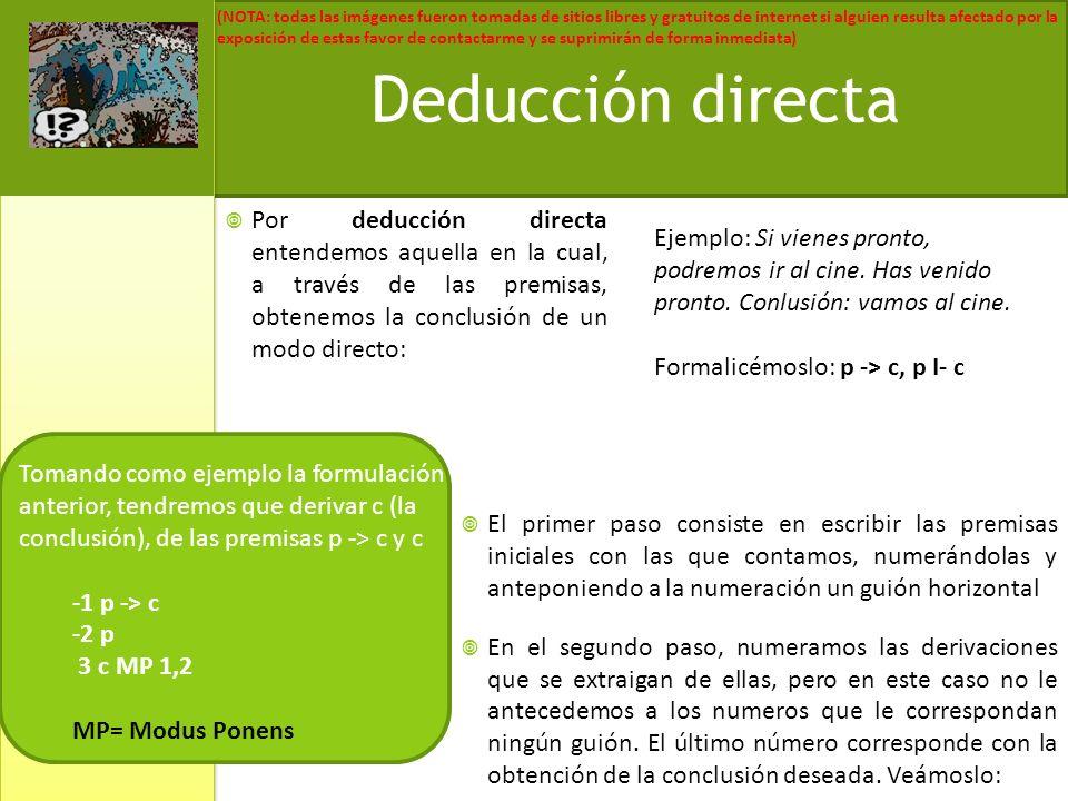 Deducción directa Por deducción directa entendemos aquella en la cual, a través de las premisas, obtenemos la conclusión de un modo directo: