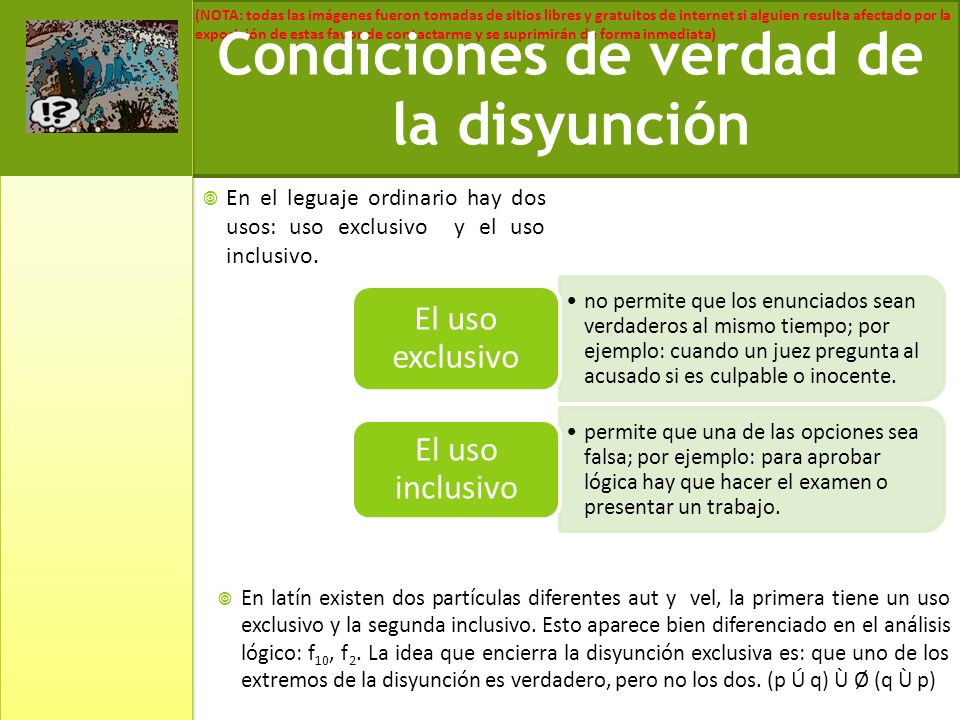 Condiciones de verdad de la disyunción