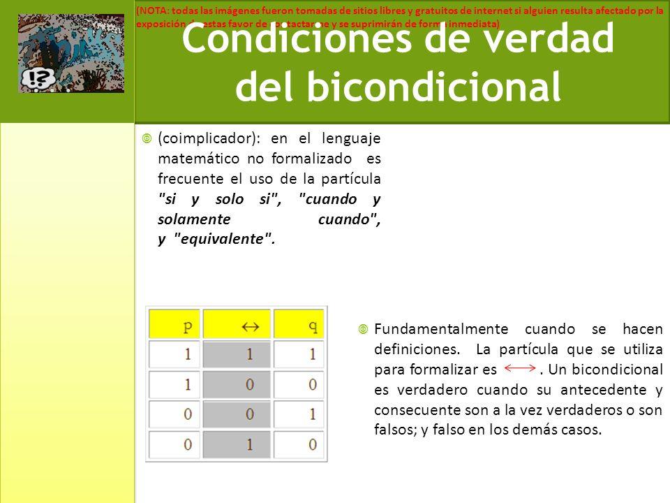 Condiciones de verdad del bicondicional