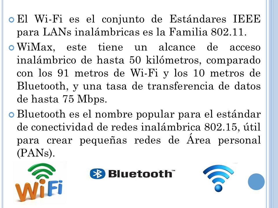 El Wi-Fi es el conjunto de Estándares IEEE para LANs inalámbricas es la Familia 802.11.