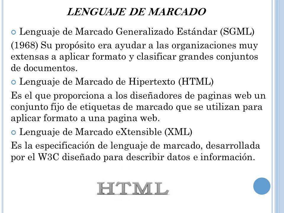 LENGUAJE DE MARCADO Lenguaje de Marcado Generalizado Estándar (SGML)