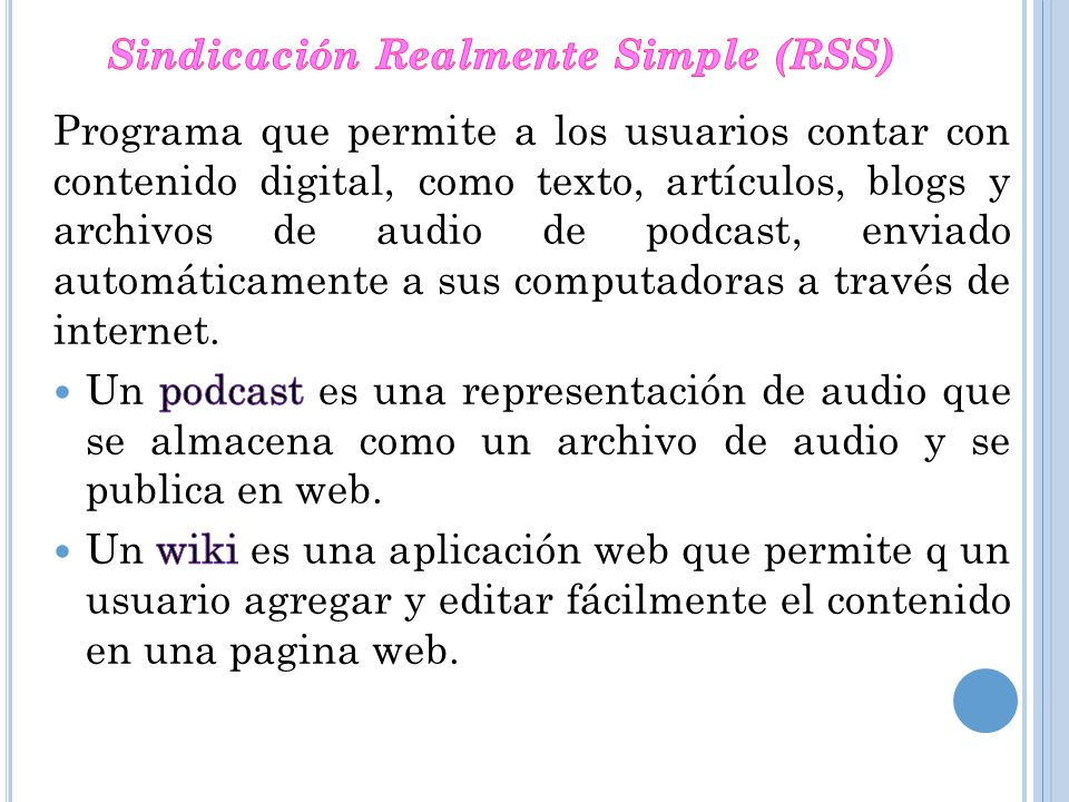Sindicación Realmente Simple (RSS)