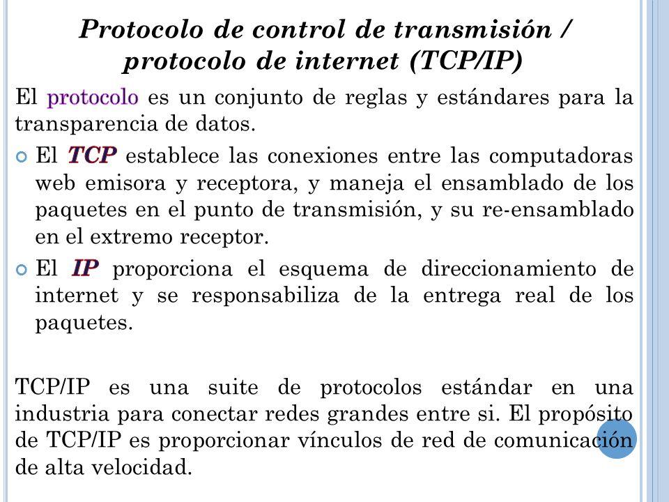 Protocolo de control de transmisión / protocolo de internet (TCP/IP)