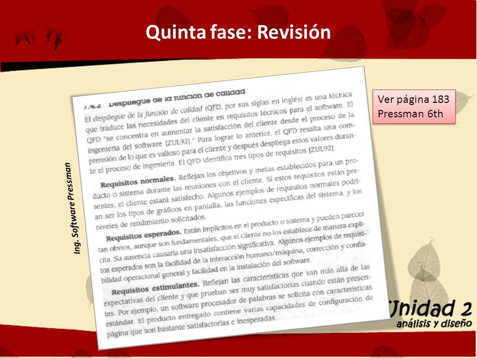 Quinta fase: Revisión Ver página 183 Pressman 6th