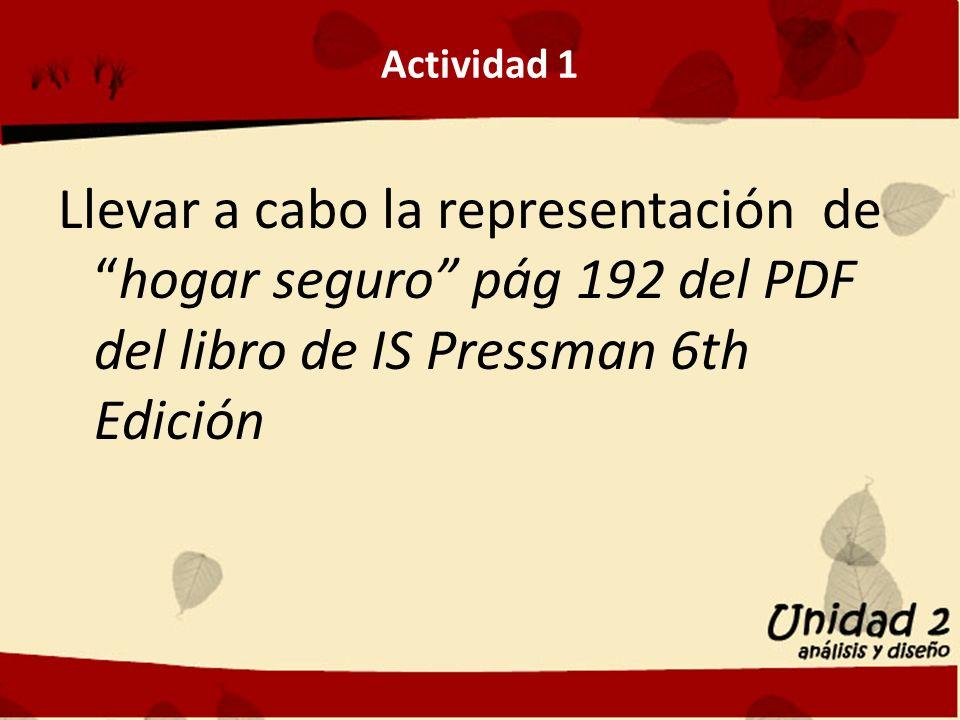 Actividad 1 Llevar a cabo la representación de hogar seguro pág 192 del PDF del libro de IS Pressman 6th Edición.