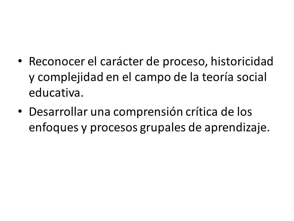 Reconocer el carácter de proceso, historicidad y complejidad en el campo de la teoría social educativa.