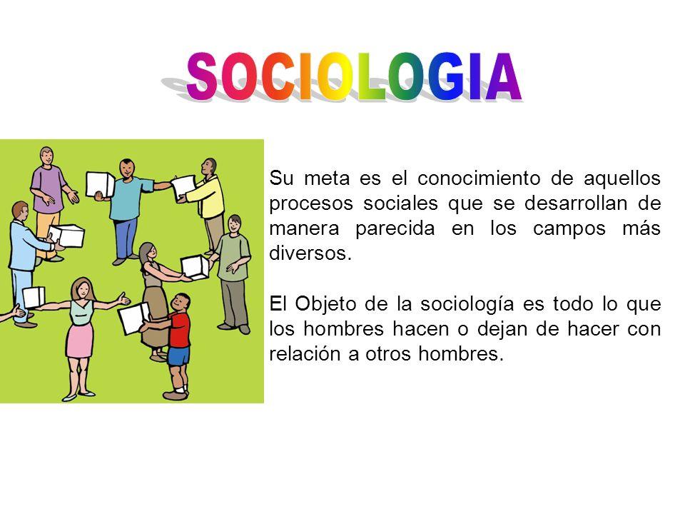 SOCIOLOGIA Su meta es el conocimiento de aquellos procesos sociales que se desarrollan de manera parecida en los campos más diversos.