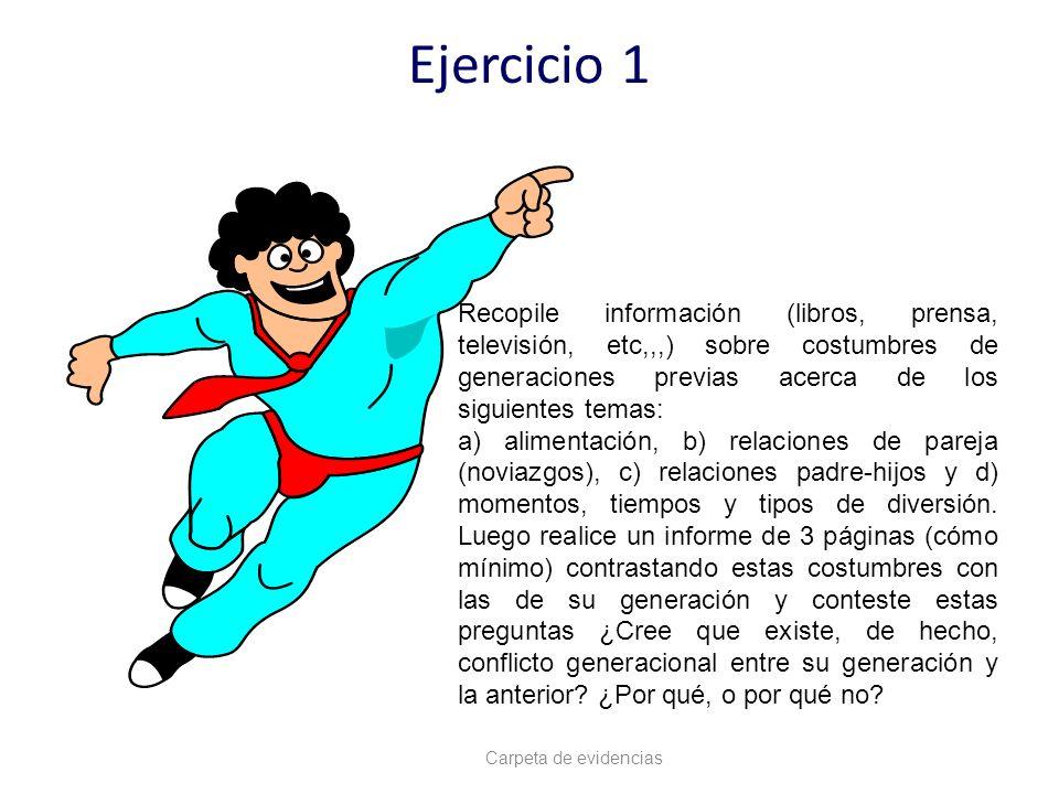 Ejercicio 1 Recopile información (libros, prensa, televisión, etc,,,) sobre costumbres de generaciones previas acerca de los siguientes temas: