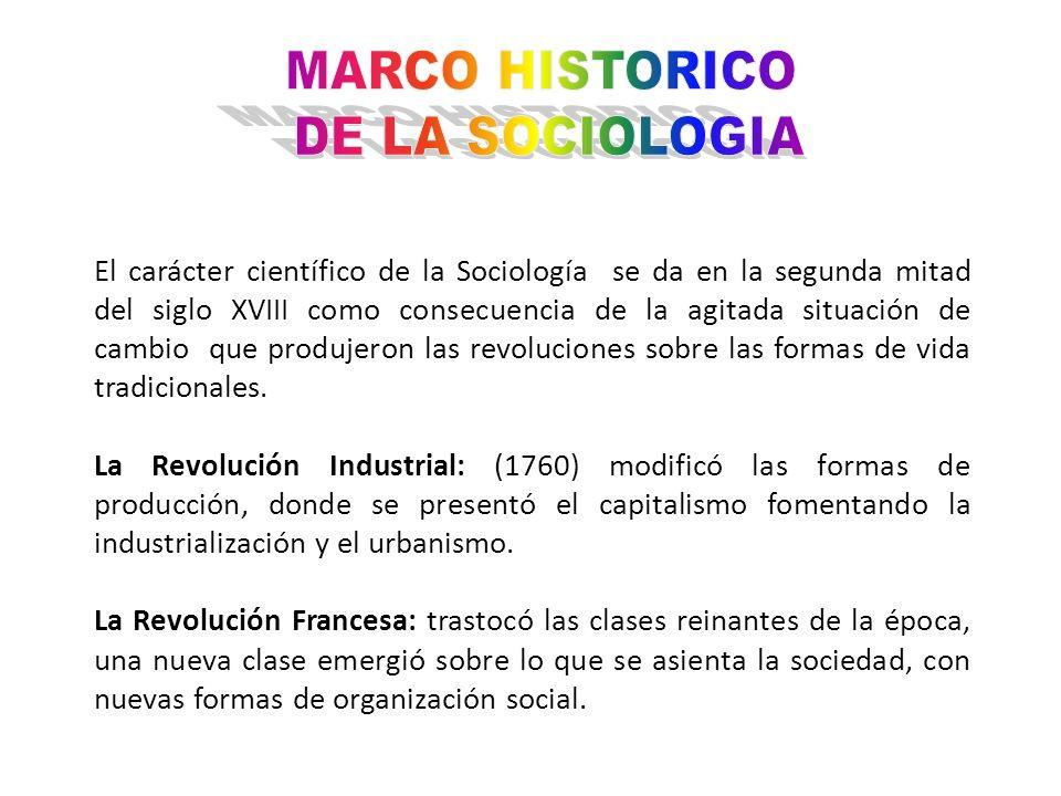 MARCO HISTORICO DE LA SOCIOLOGIA