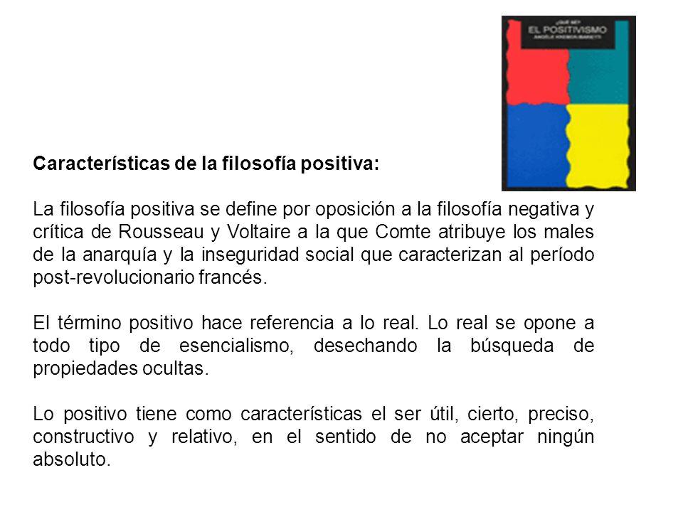 TEORÍA 2 Características de la filosofía positiva: