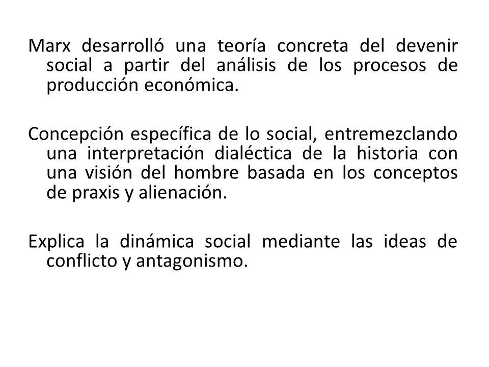 Marx desarrolló una teoría concreta del devenir social a partir del análisis de los procesos de producción económica.