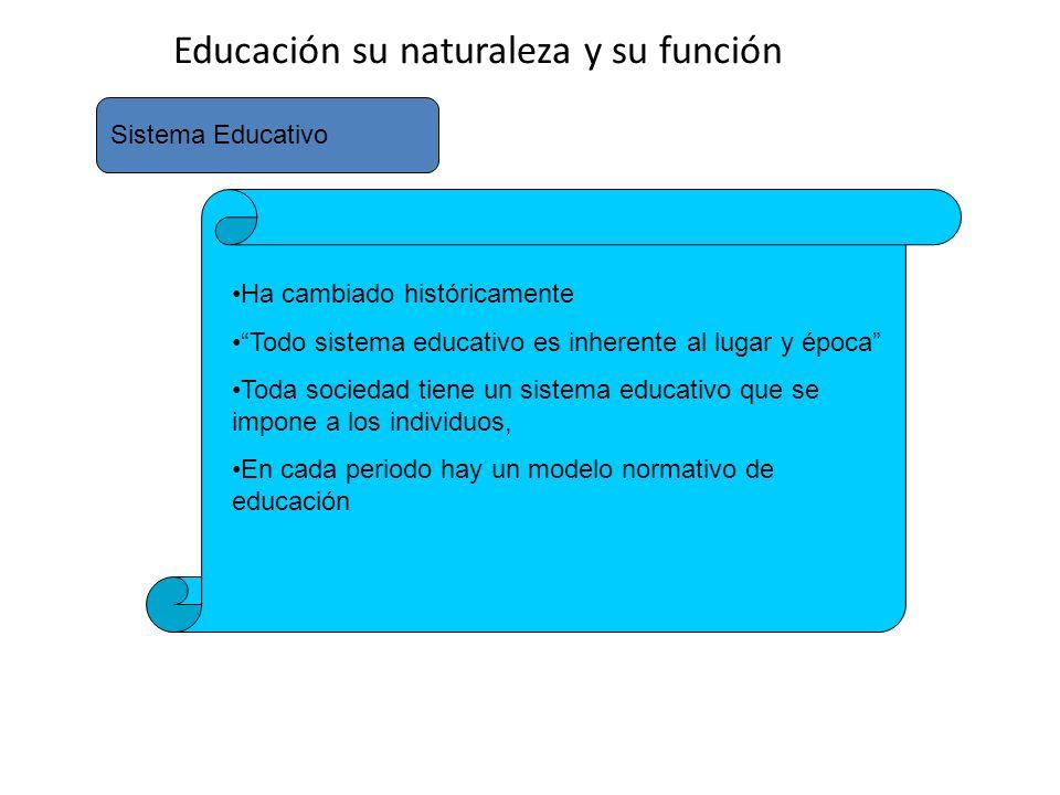 Educación su naturaleza y su función