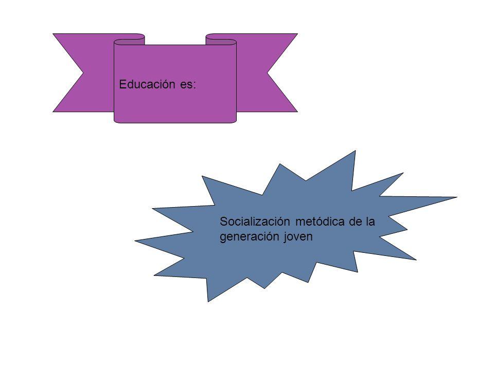 Educación es: Socialización metódica de la generación joven