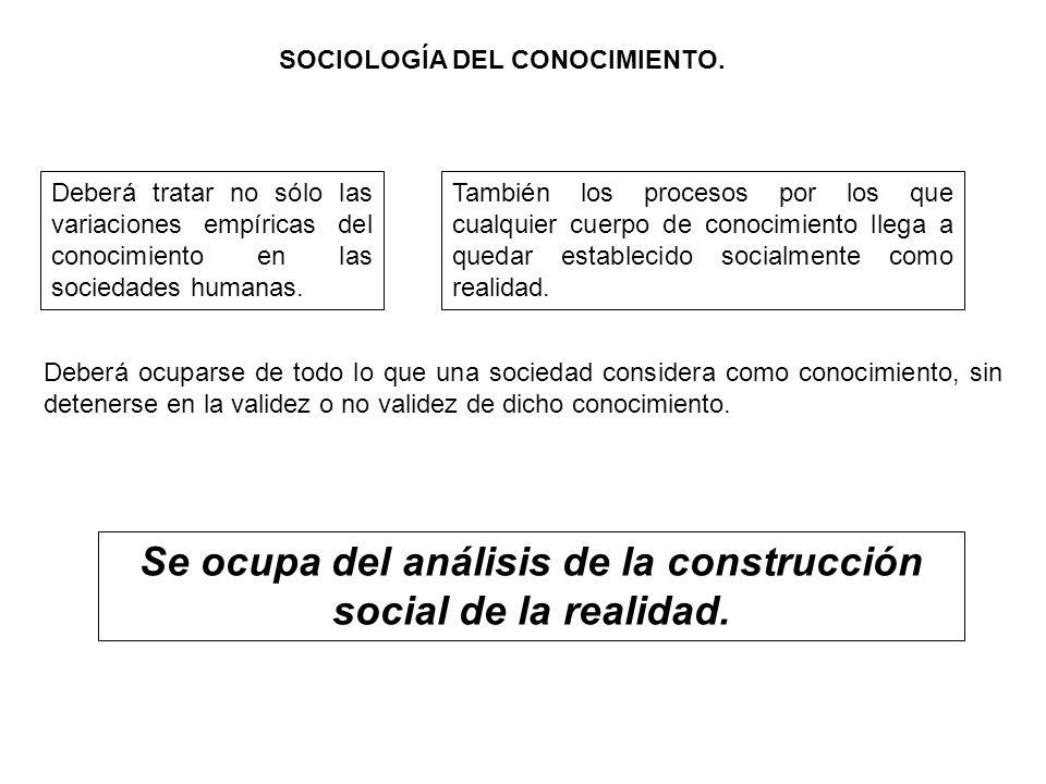 Se ocupa del análisis de la construcción social de la realidad.