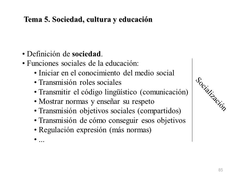 Tema 5. Sociedad, cultura y educación