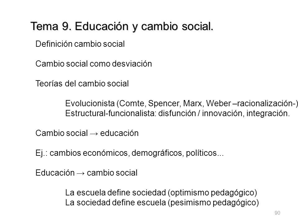 Tema 9. Educación y cambio social.