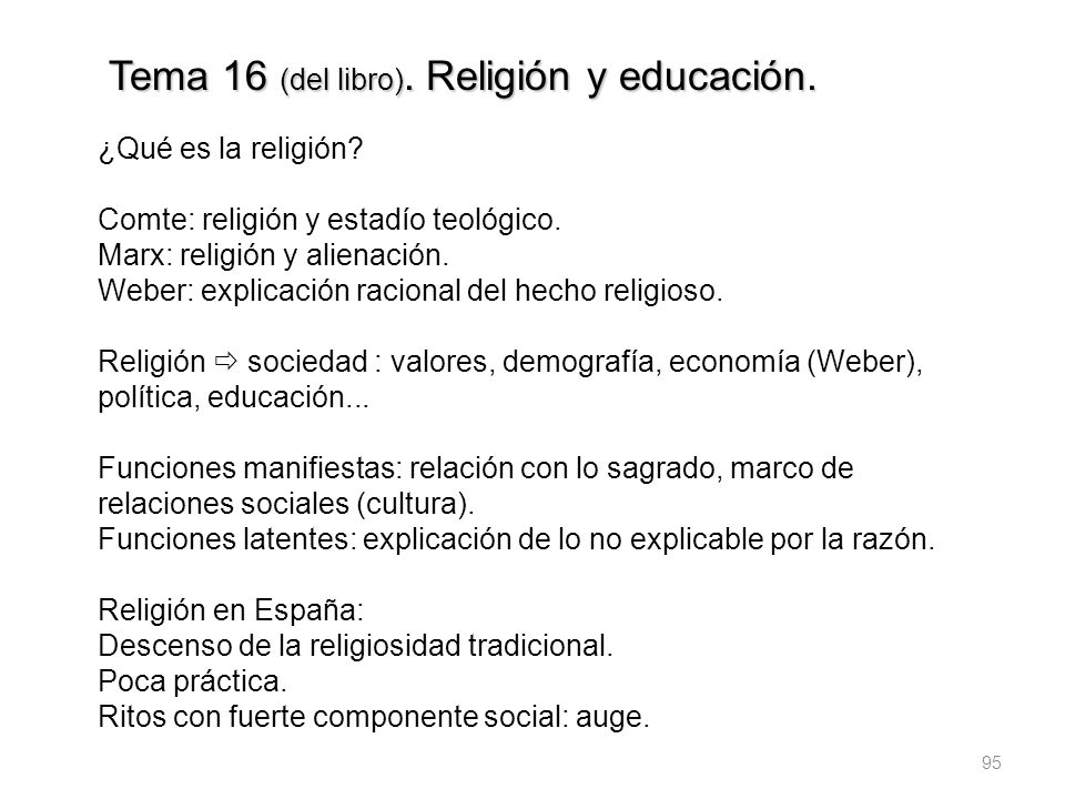 Tema 16 (del libro). Religión y educación.