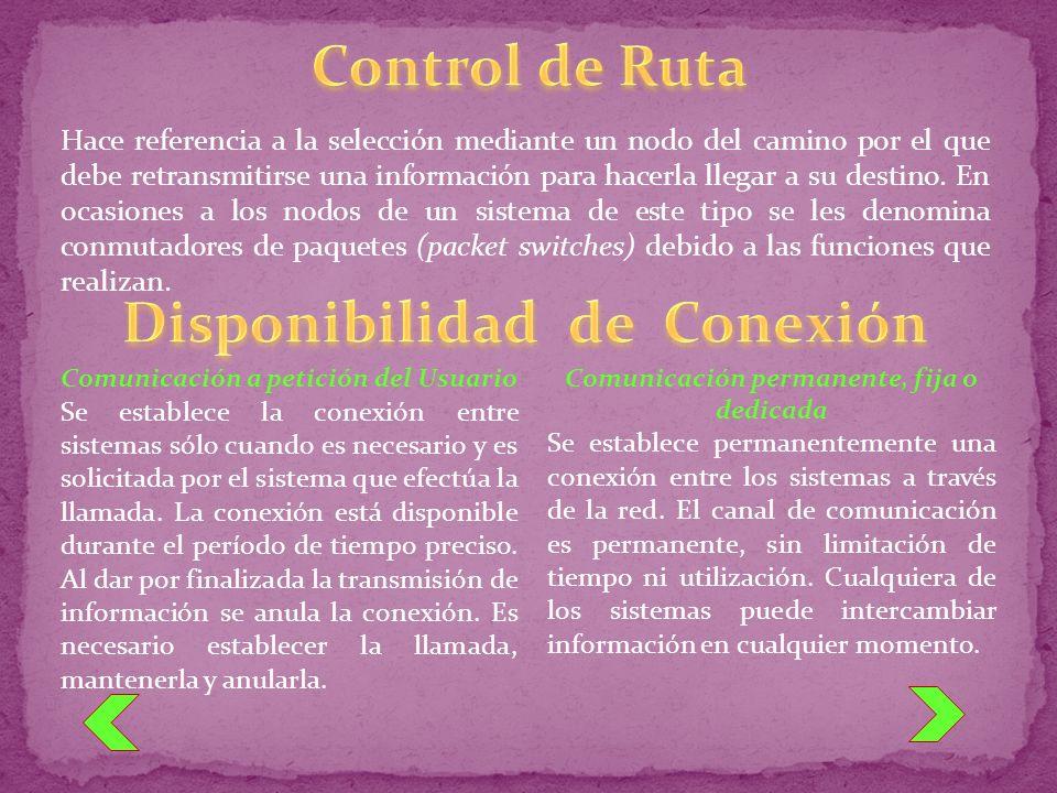 Control de Ruta Disponibilidad de Conexión