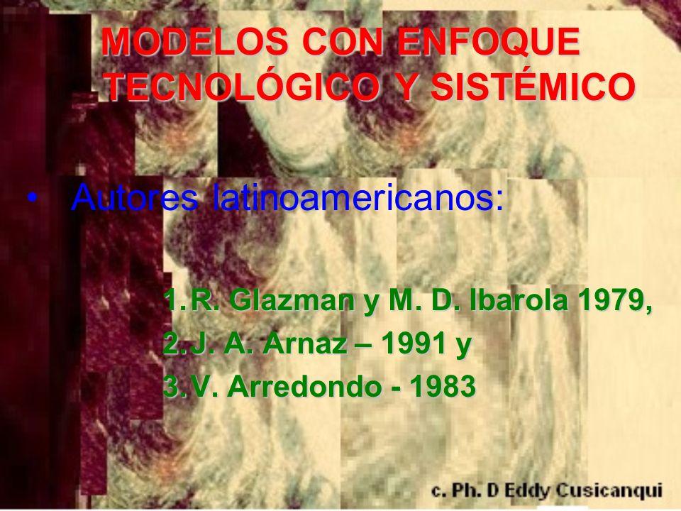 MODELOS CON ENFOQUE TECNOLÓGICO Y SISTÉMICO