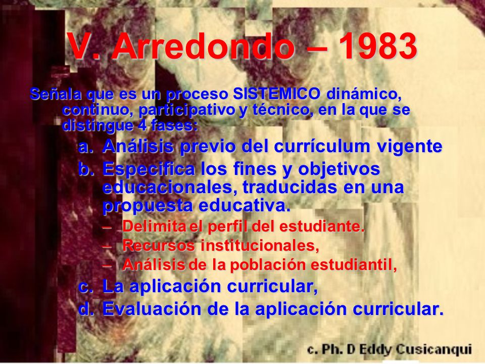V. Arredondo – 1983 Análisis previo del currículum vigente
