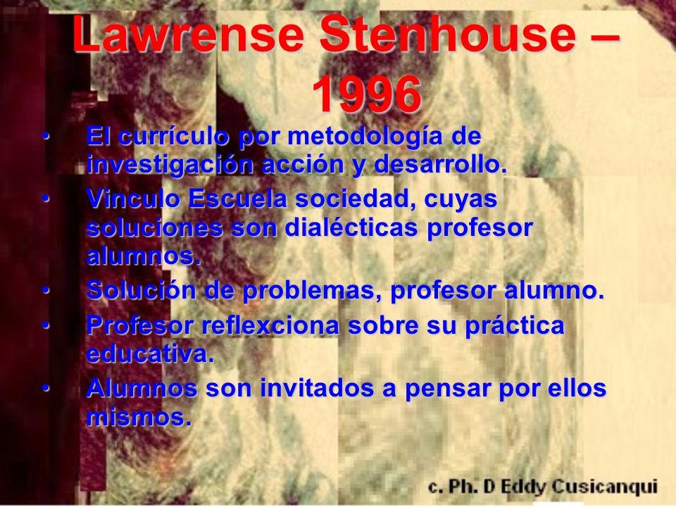 Lawrense Stenhouse – 1996 El currículo por metodología de investigación acción y desarrollo.