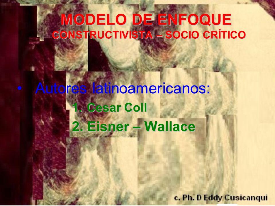 MODELO DE ENFOQUE CONSTRUCTIVISTA – SOCIO CRÍTICO