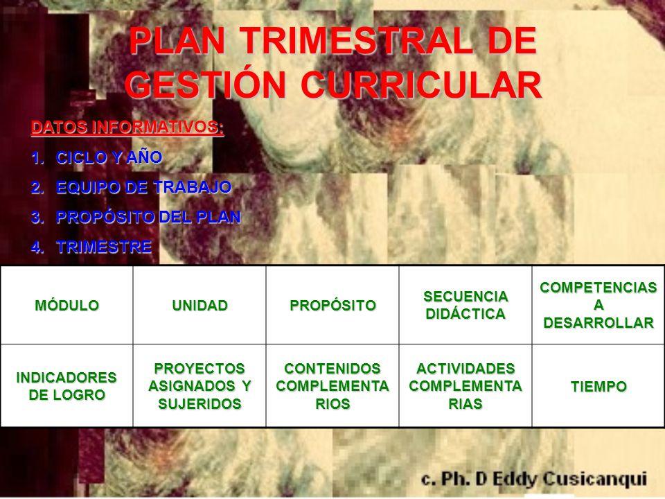 PLAN TRIMESTRAL DE GESTIÓN CURRICULAR
