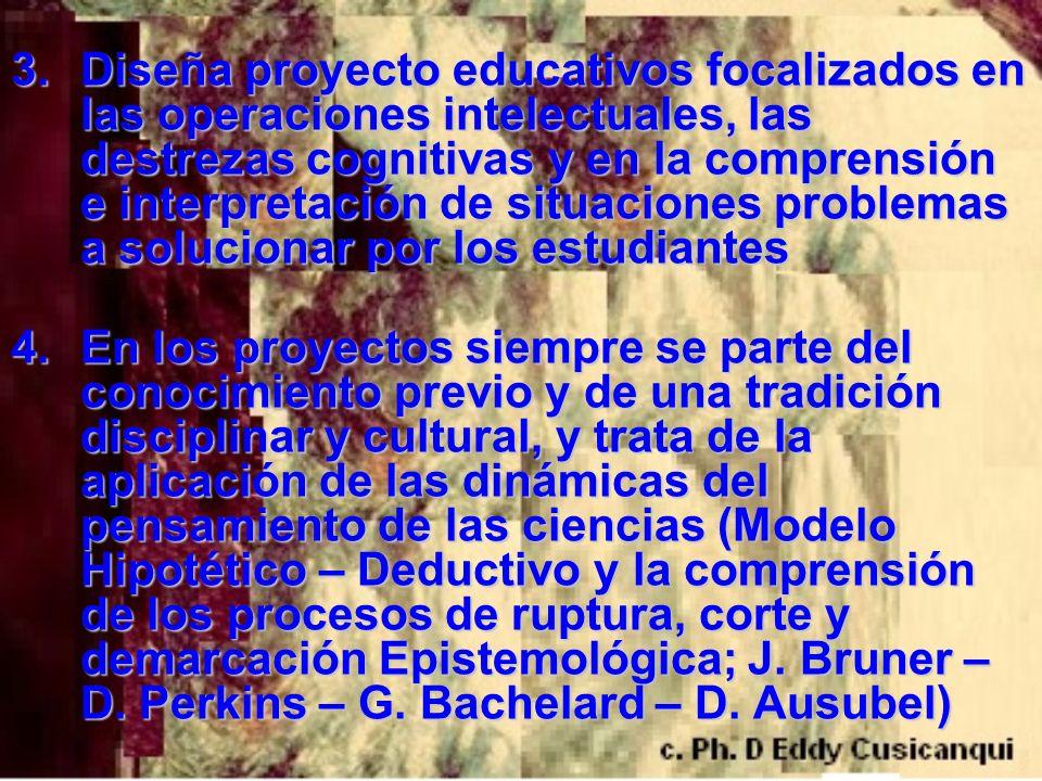 Diseña proyecto educativos focalizados en las operaciones intelectuales, las destrezas cognitivas y en la comprensión e interpretación de situaciones problemas a solucionar por los estudiantes