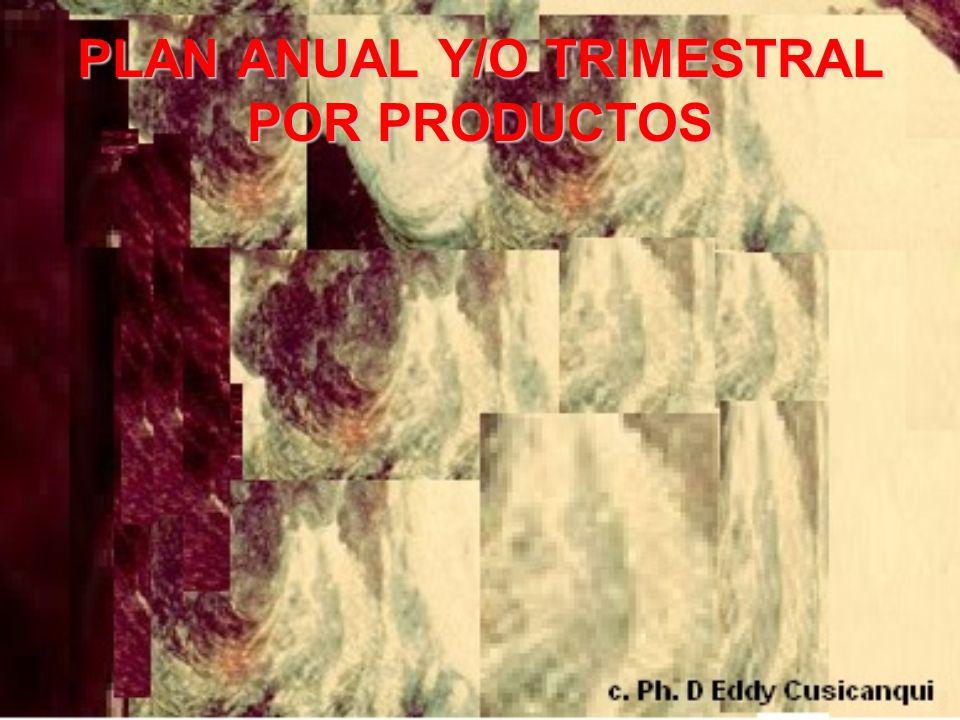 PLAN ANUAL Y/O TRIMESTRAL POR PRODUCTOS