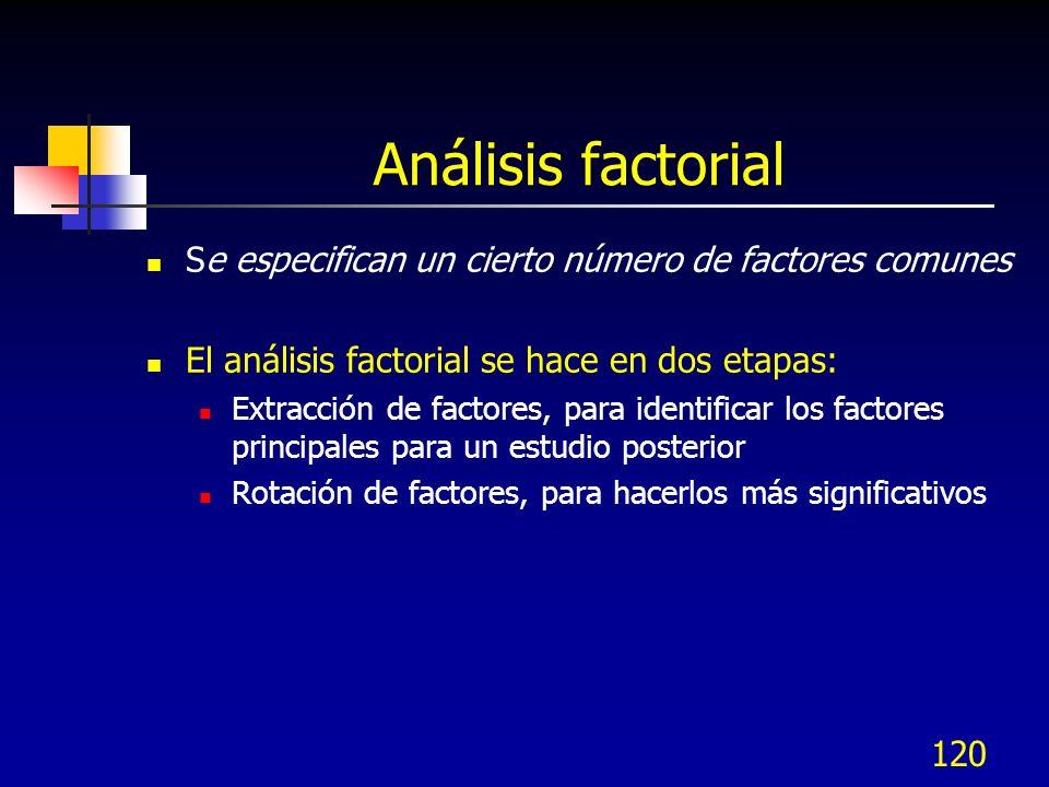 Análisis factorial Se especifican un cierto número de factores comunes