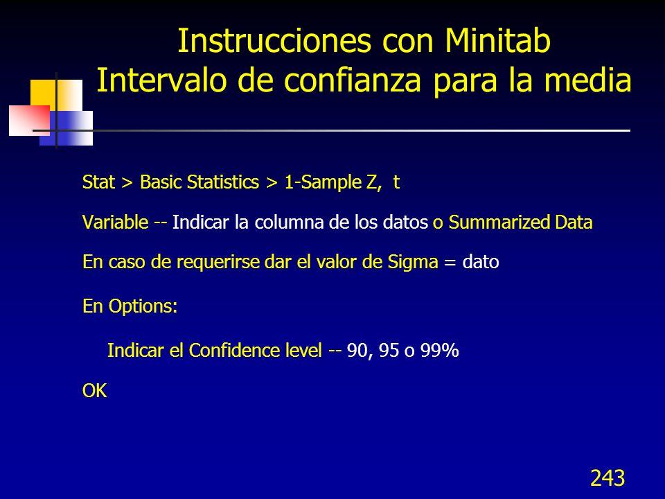 Instrucciones con Minitab Intervalo de confianza para la media