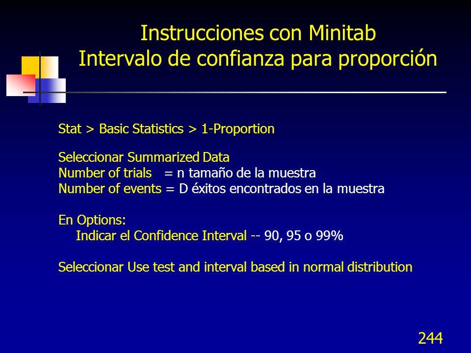 Instrucciones con Minitab Intervalo de confianza para proporción