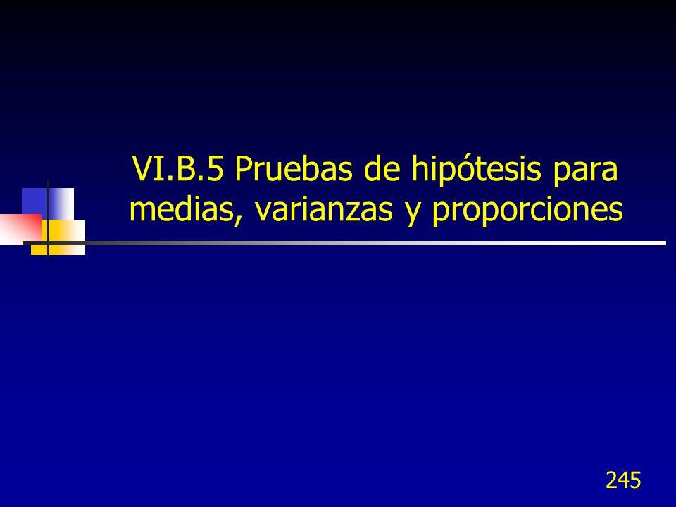 VI.B.5 Pruebas de hipótesis para medias, varianzas y proporciones