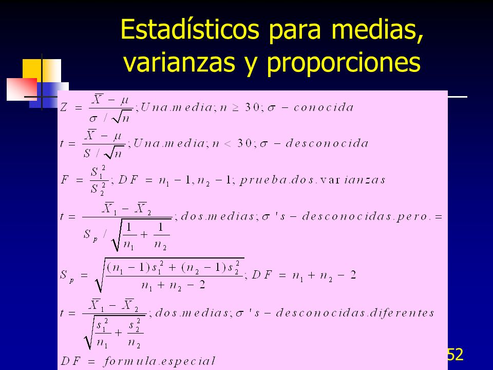 Estadísticos para medias, varianzas y proporciones