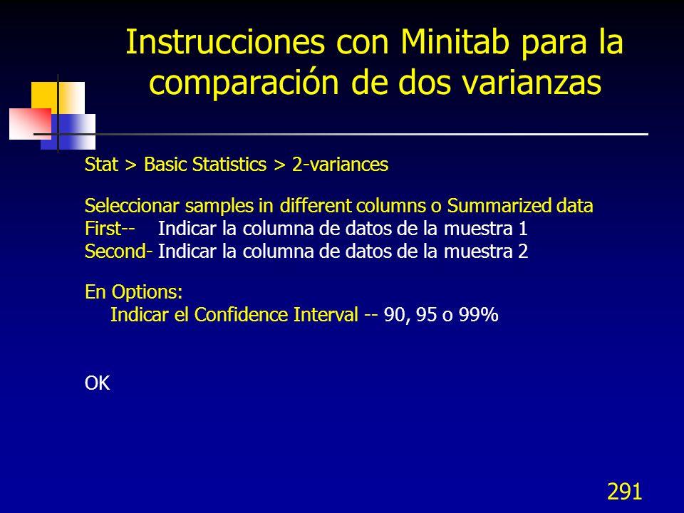 Instrucciones con Minitab para la comparación de dos varianzas