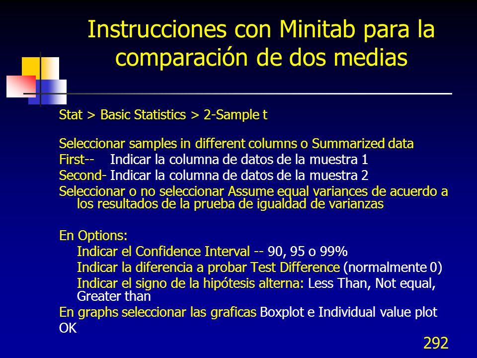 Instrucciones con Minitab para la comparación de dos medias