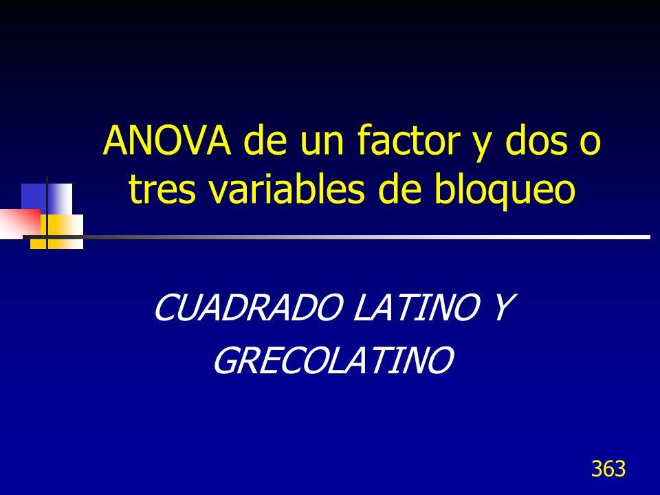 ANOVA de un factor y dos o tres variables de bloqueo