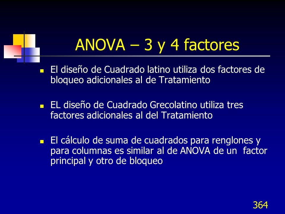ANOVA – 3 y 4 factores El diseño de Cuadrado latino utiliza dos factores de bloqueo adicionales al de Tratamiento.