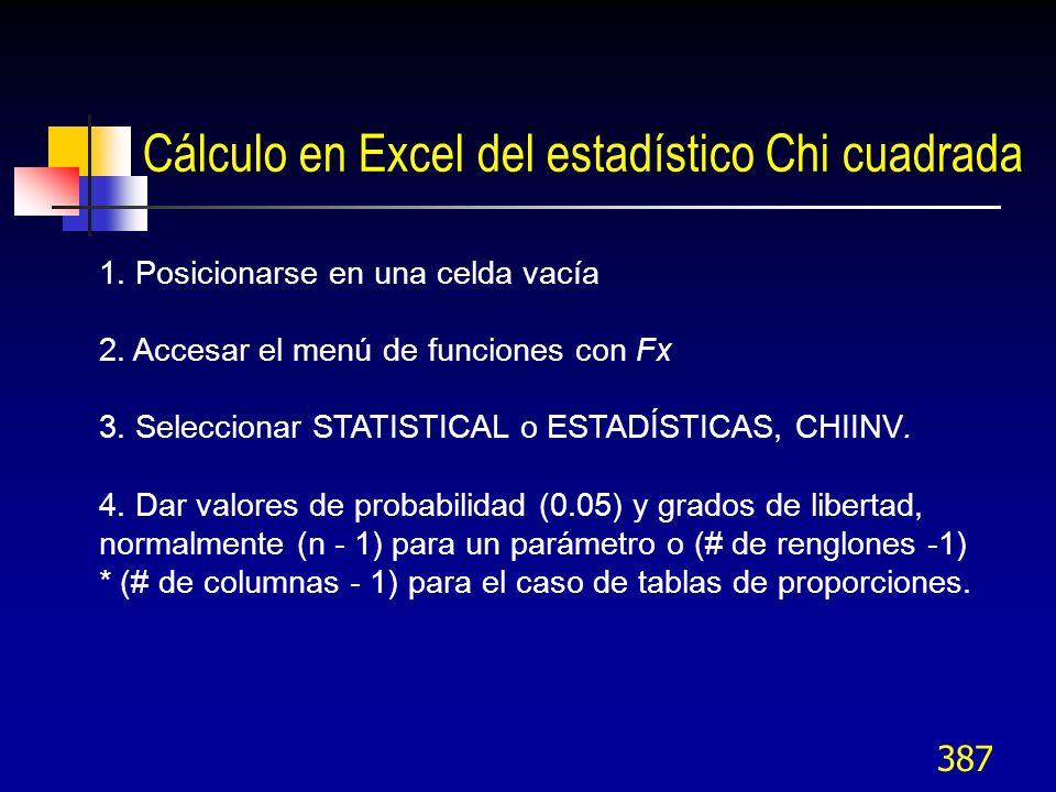 Cálculo en Excel del estadístico Chi cuadrada