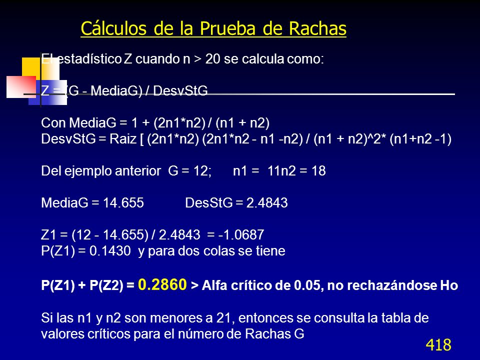 Cálculos de la Prueba de Rachas