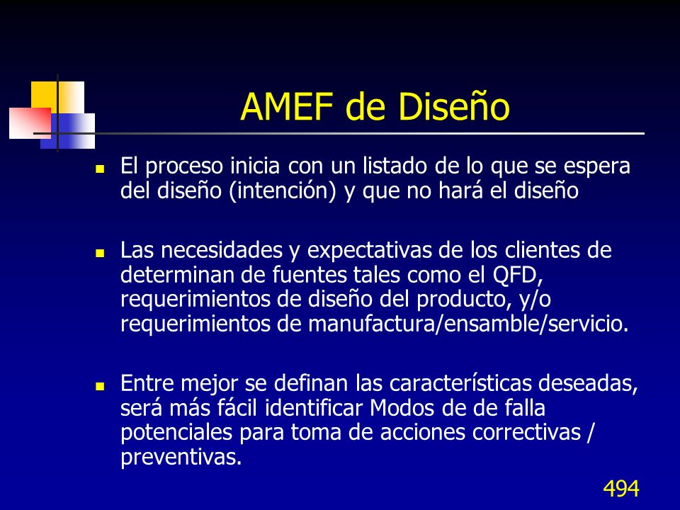 AMEF de Diseño El proceso inicia con un listado de lo que se espera del diseño (intención) y que no hará el diseño.