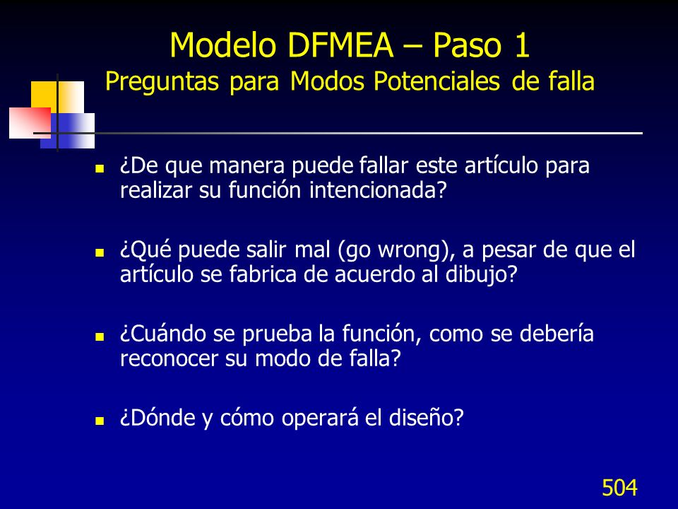 Modelo DFMEA – Paso 1 Preguntas para Modos Potenciales de falla