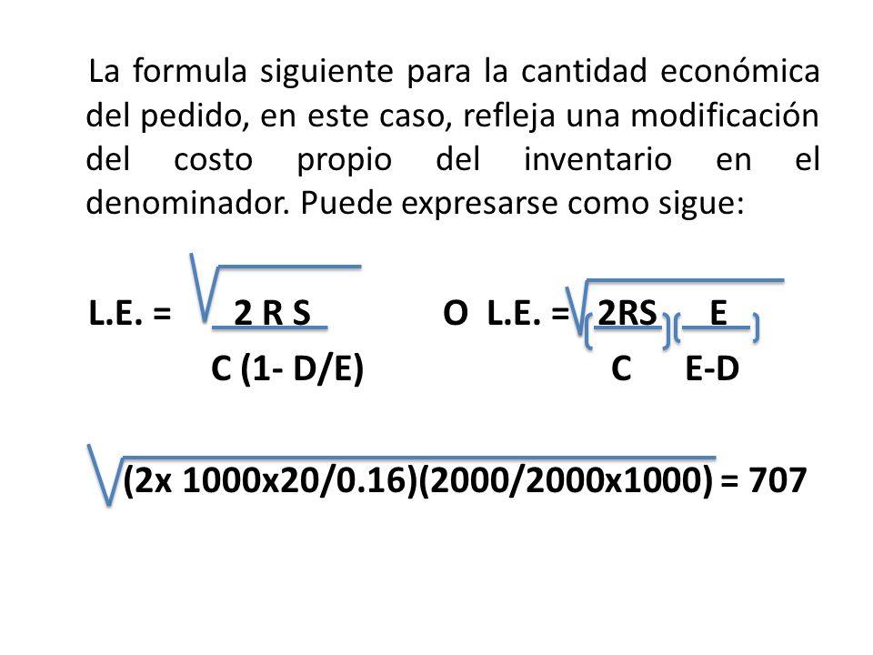 La formula siguiente para la cantidad económica del pedido, en este caso, refleja una modificación del costo propio del inventario en el denominador. Puede expresarse como sigue: