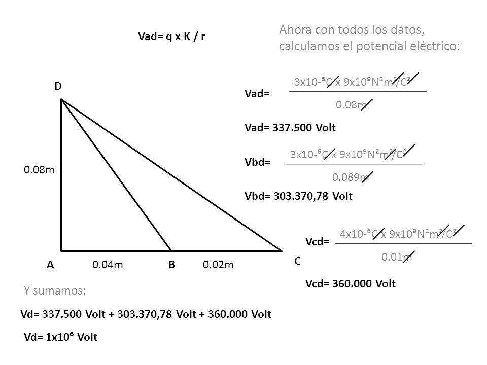 Ahora con todos los datos, calculamos el potencial eléctrico: