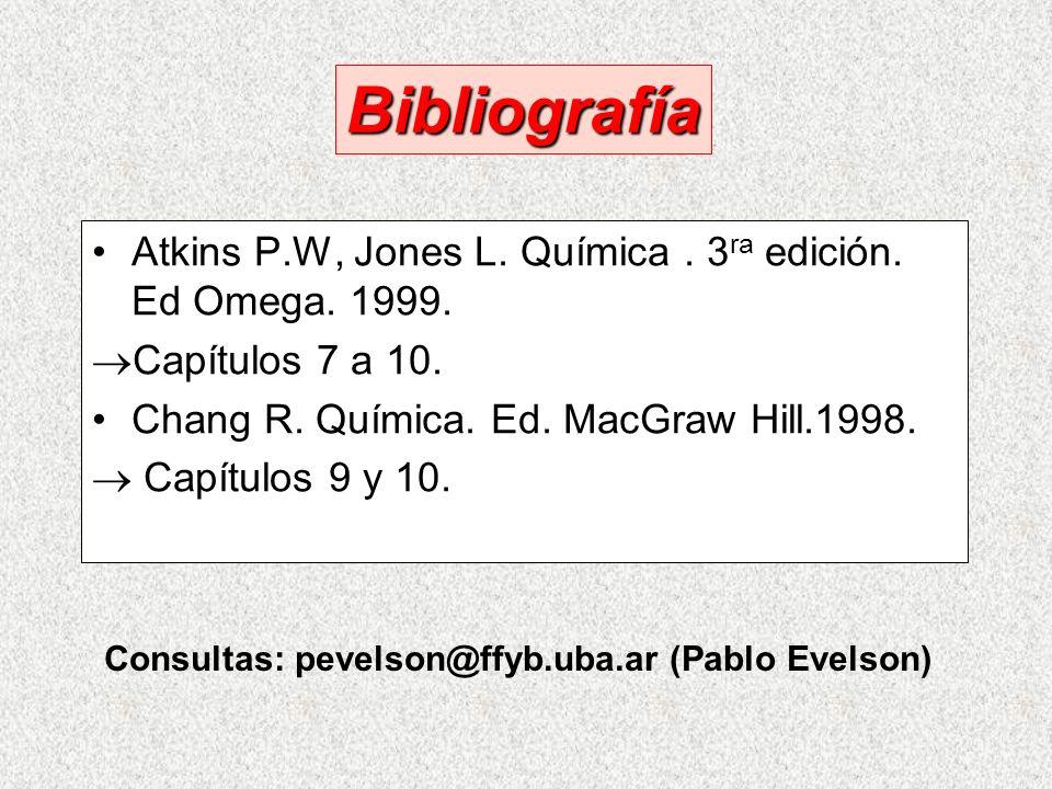 Bibliografía Atkins P.W, Jones L. Química . 3ra edición. Ed Omega. 1999. Capítulos 7 a 10. Chang R. Química. Ed. MacGraw Hill.1998.