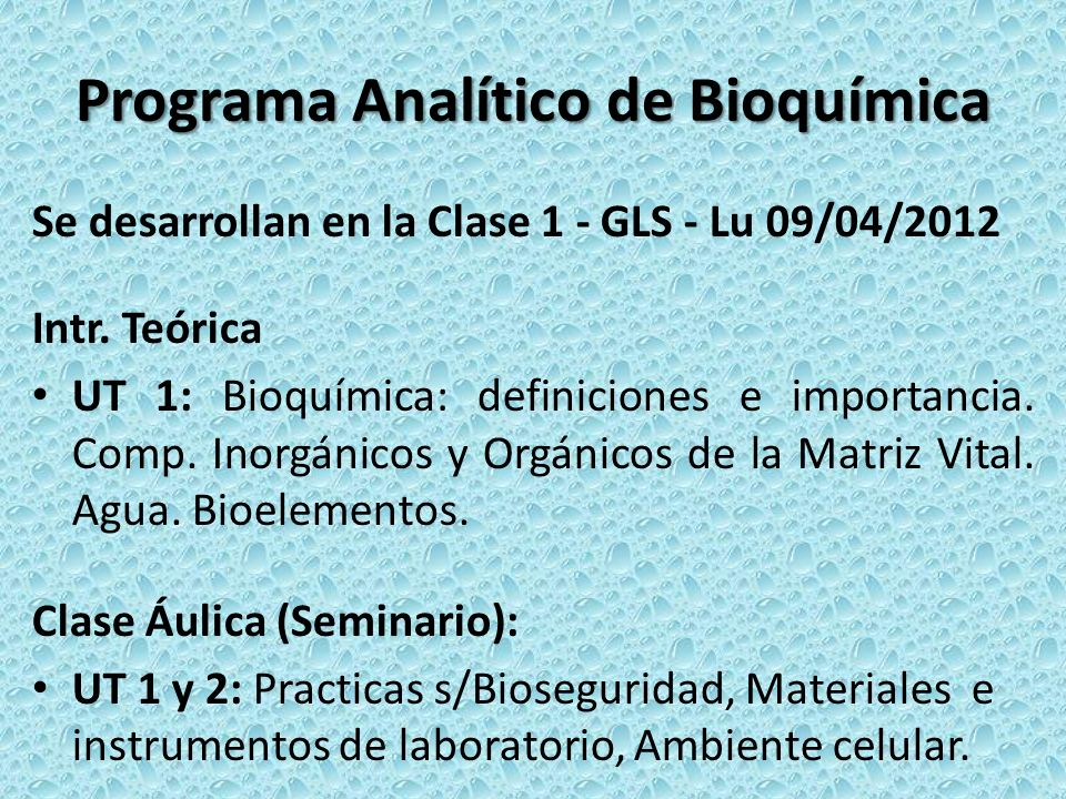 Programa Analítico de Bioquímica