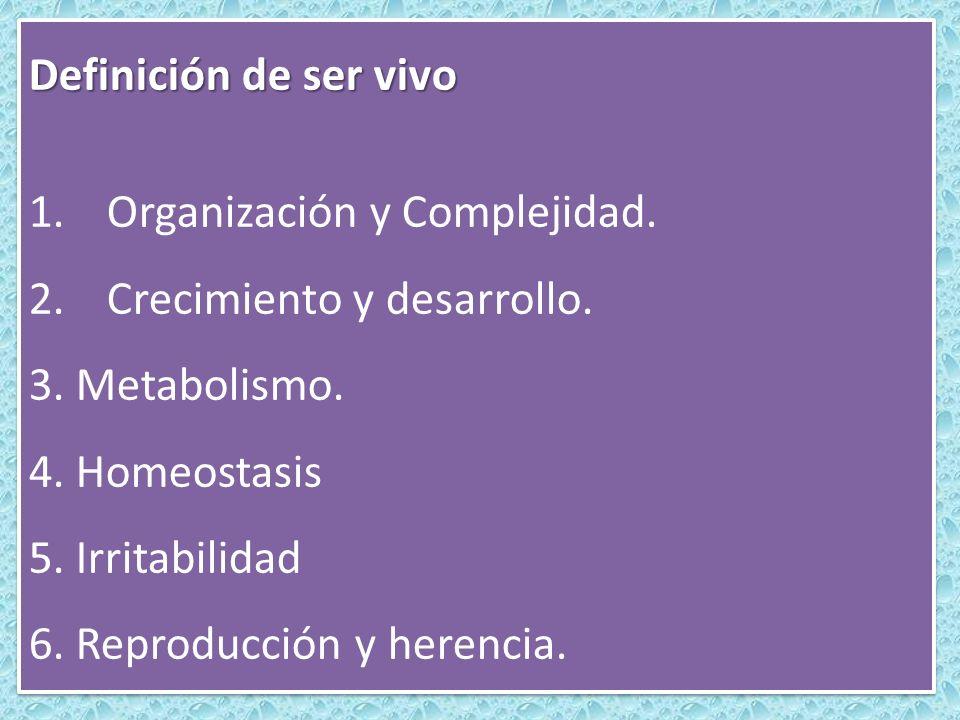 Definición de ser vivo Organización y Complejidad. Crecimiento y desarrollo. 3. Metabolismo. 4. Homeostasis.